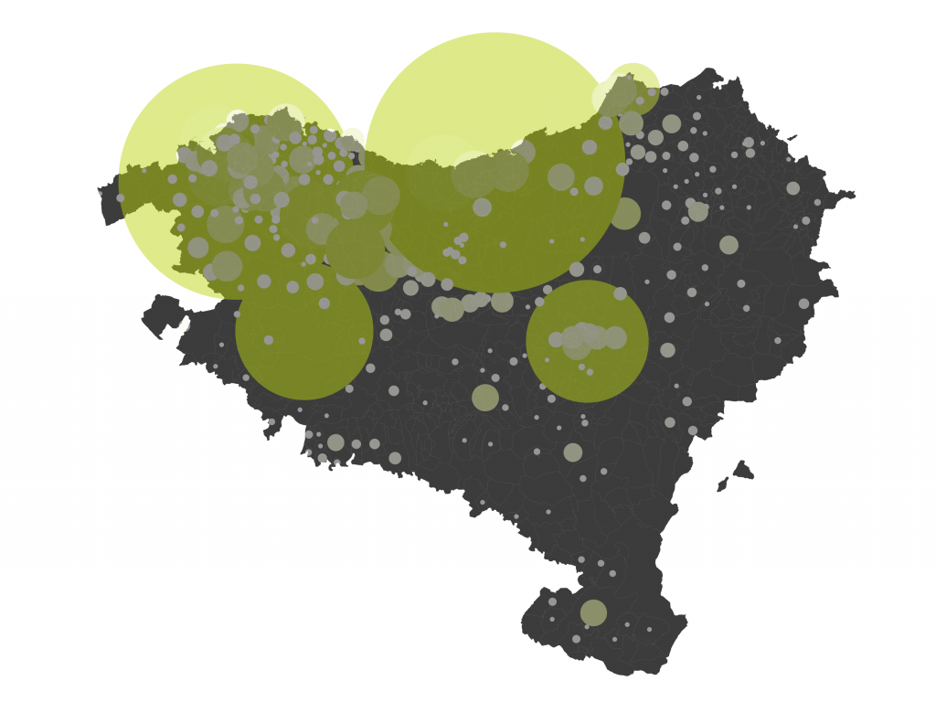 Density of Websites with Content in Basque in the Basque Country