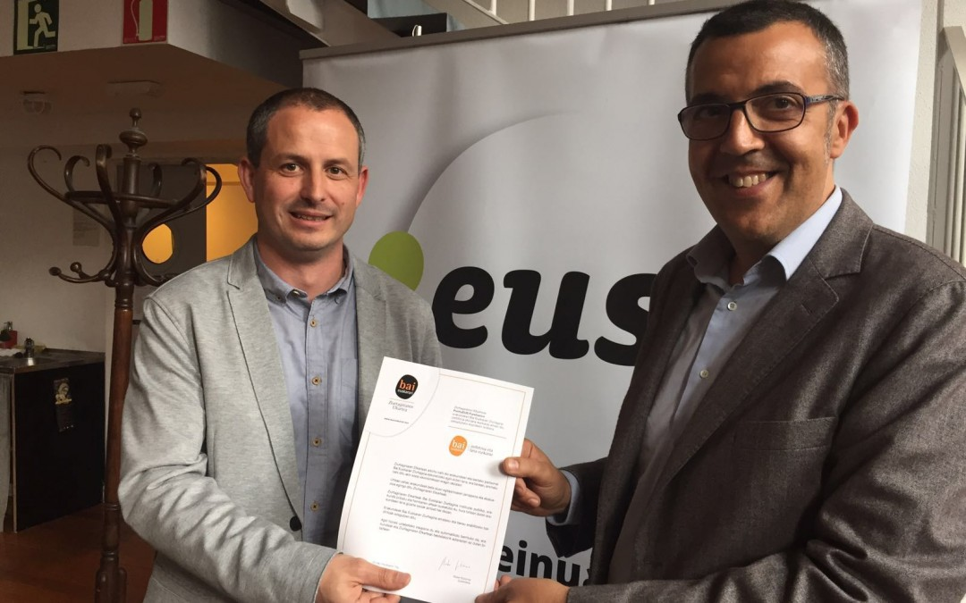 PuntuEUS Foundation achieves the Bai Euskarari Certificate