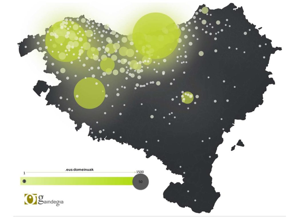 Map that displays the density of .EUS domains in the Basque Country in 2017